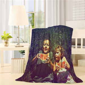 Two kids eating watermelon retro style Printed Throw Blanket