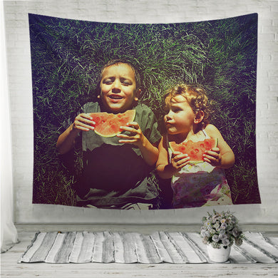 Two kids eating watermelon retro style Wall Tapestry