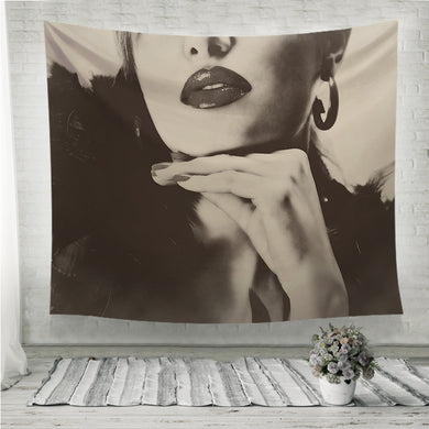 Pretty beautiful woman with black feathers shiny lips Wall Tapestry