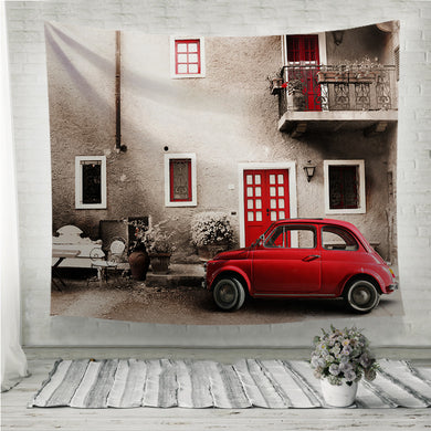 Old vintage italian scene antique red car Wall Tapestry