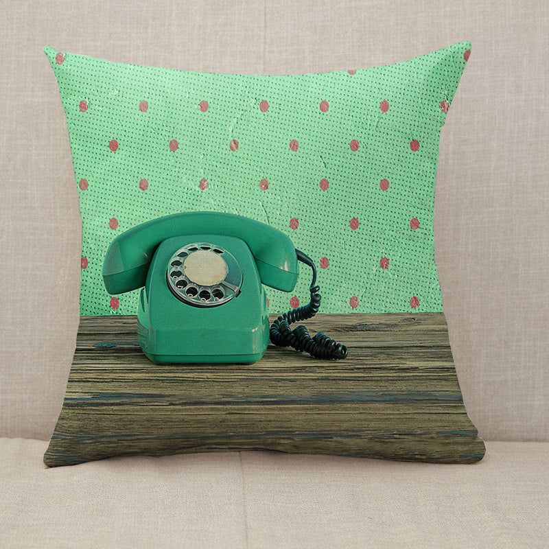 Vintage phone green Throw Pillow [With Inserts]