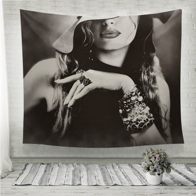 Young pretty woman model lips makeup Wall Tapestry