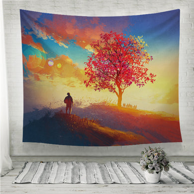 Autumn landscape with alone tree on mountain Wall Tapestry
