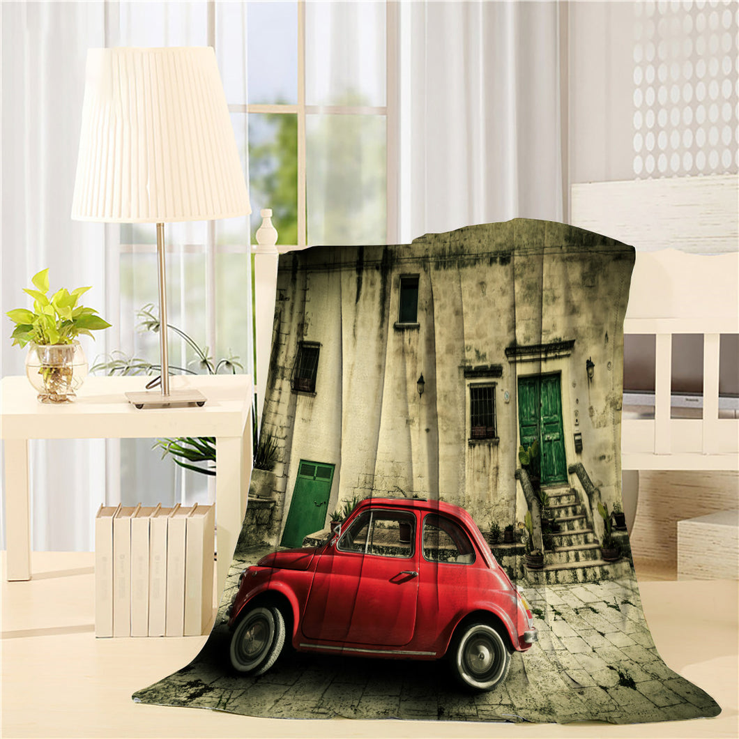Red subcompact old car italian scene Printed Throw Blanket