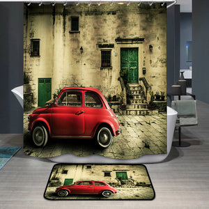 Red subcompact old car italian scene Shower Curtain