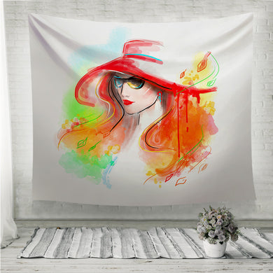Multicolored autumn Fashion beautiful woman Wall Tapestry