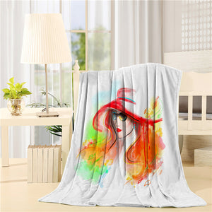 Multicolored autumn Fashion beautiful woman Printed Throw Blanket
