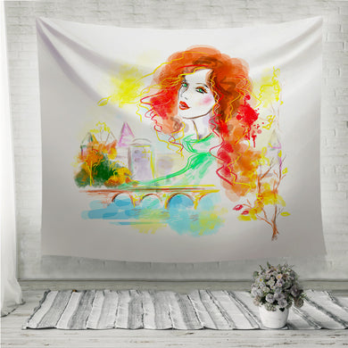 Beautiful woman autumn abstract in street Wall Tapestry