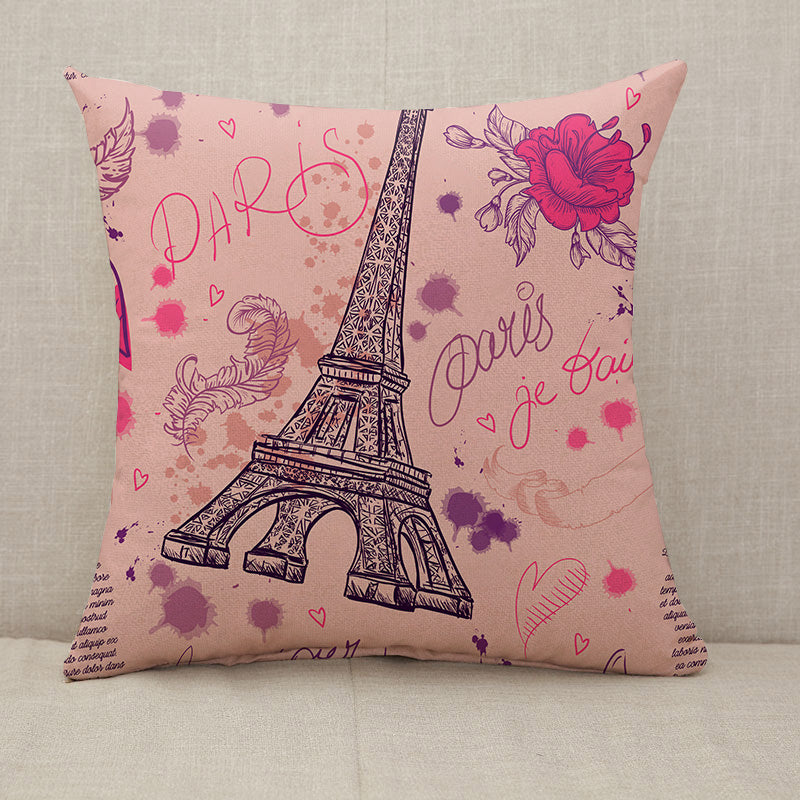 Pink Paris Eiffel Tower feathers flowers Throw Pillow [With Inserts]