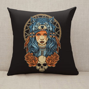 Native American girl with Wolf headdress Throw Pillow [With Inserts]