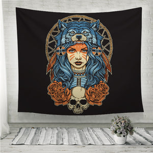 Native American girl with Wolf headdress Wall Tapestry