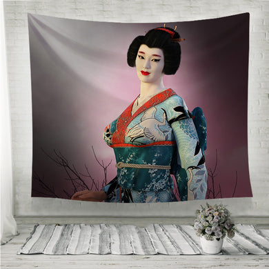 Japanese Geisha Girl Wall Tapestry