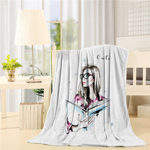 Hand drawn beautiful woman with book Printed Throw Blanket