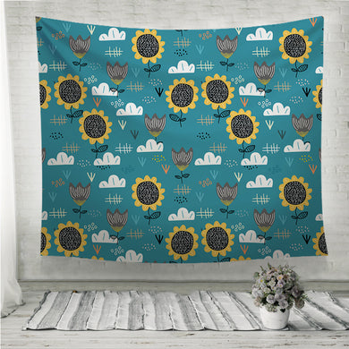Cute sun flower blue background Wall Tapestry
