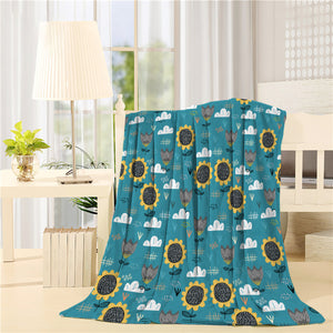 Cute sun flower blue background Printed Throw Blanket