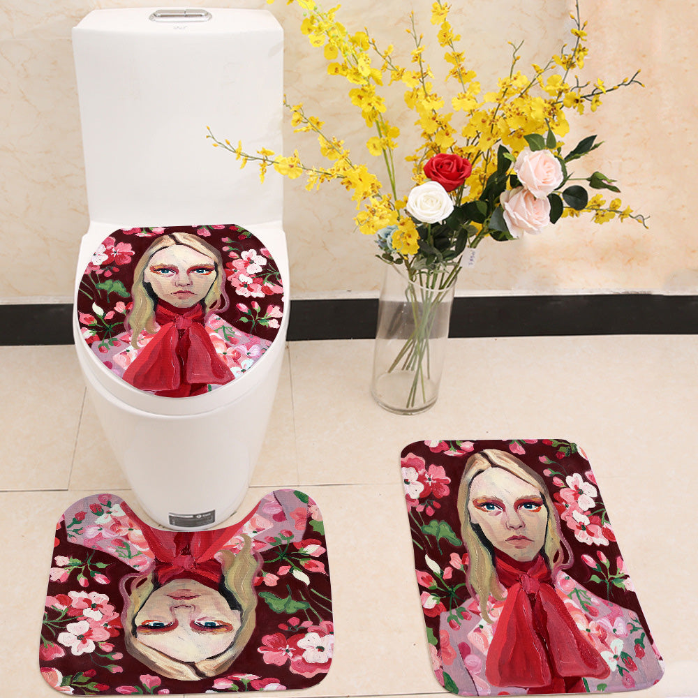 Vintage Model Face 3 Piece Toilet Cover Set
