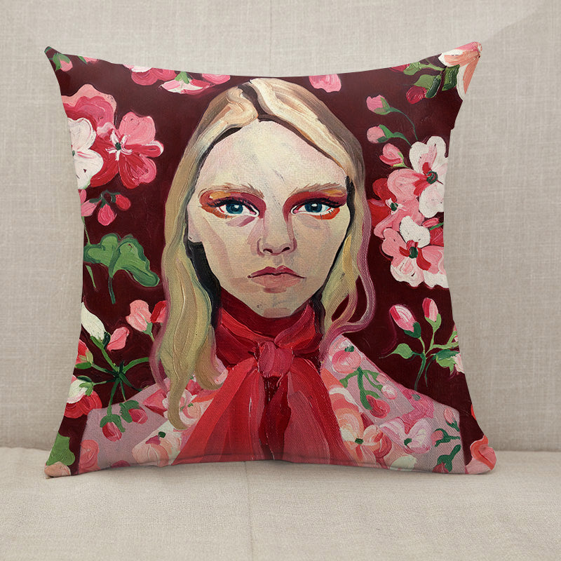 Vintage Model Face Throw Pillow [With Inserts]