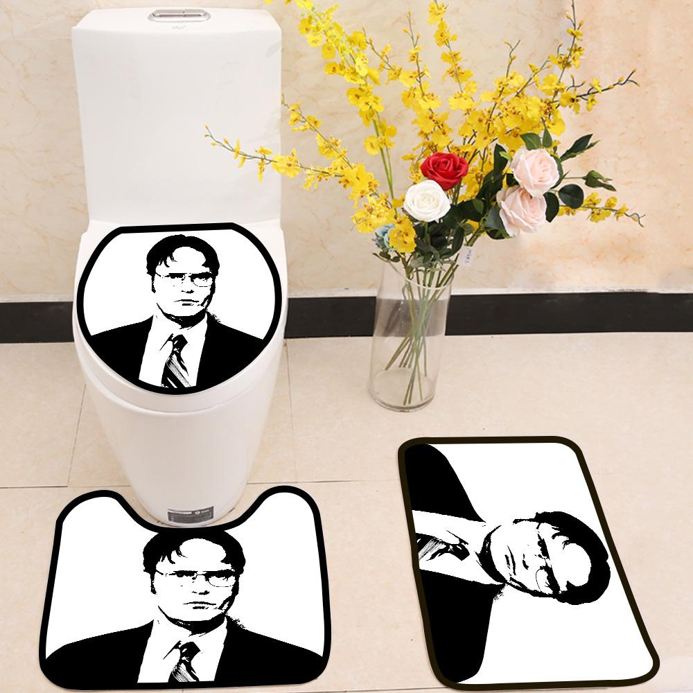 Dwight Schrute Black White Portrait 3 Piece Toilet Cover Set