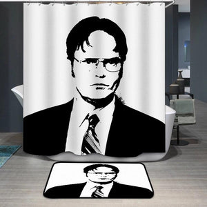 Dwight Schrute Black White Portrait Shower Curtain