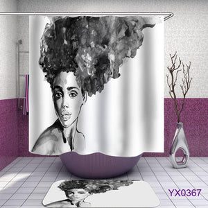 Black and white style african woman Shower Curtain