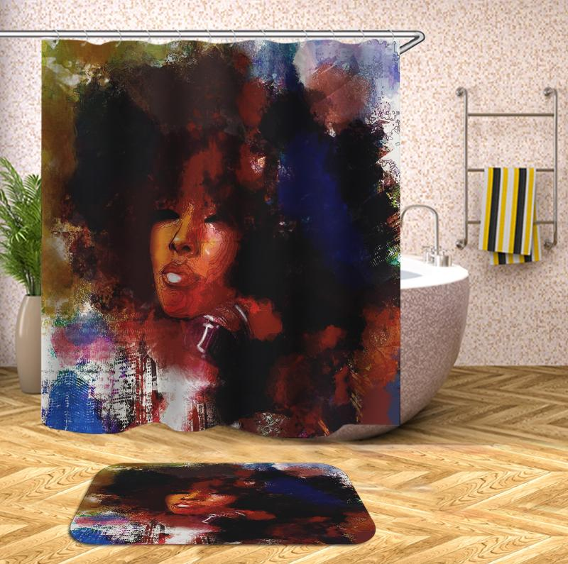 Oil painting african american woman Shower Curtain