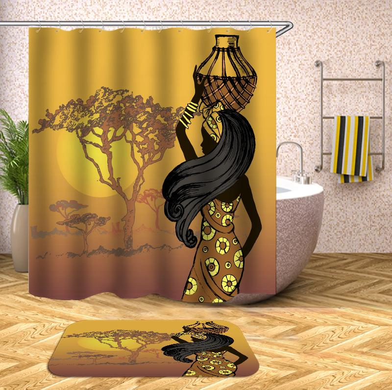 African woman yellow Shower Curtain