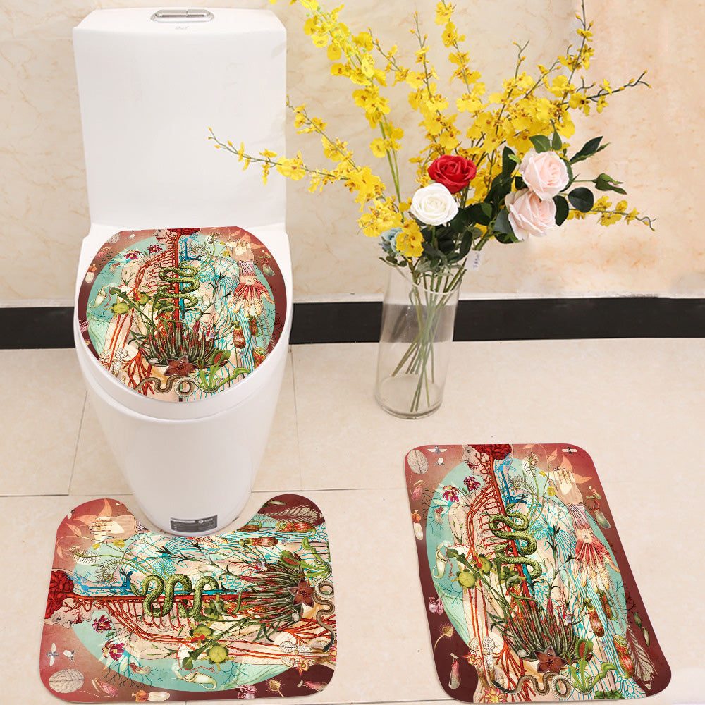 Meat pink 3 Piece Toilet Cover Set