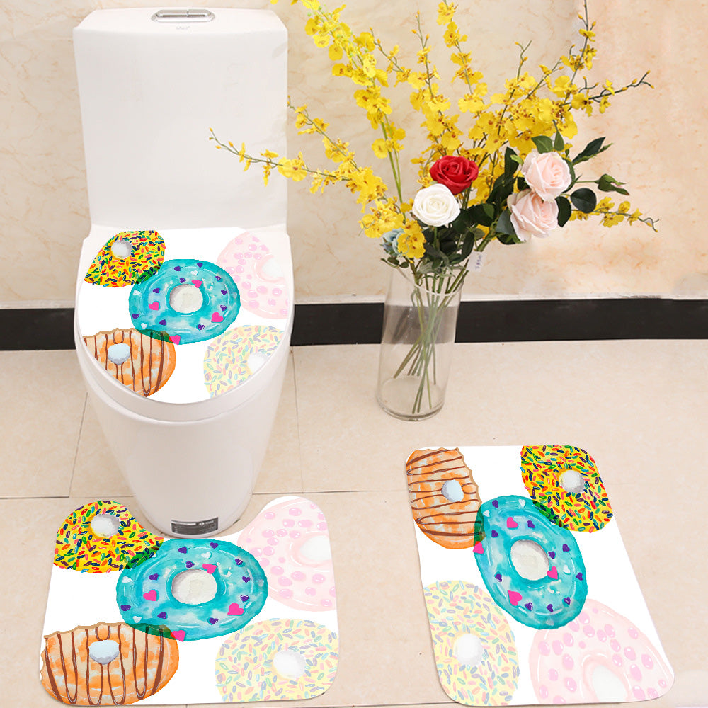 Colorful donut 3 Piece Toilet Cover Set