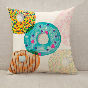 Colorful donut Throw Pillow [With Inserts]