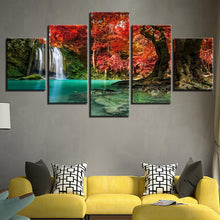 Load image into Gallery viewer, Forest Lake Waterfall # - 5 Piece Canvas Wall Art