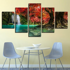 Forest Lake Waterfall # - 5 Piece Canvas Wall Art