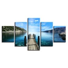 Load image into Gallery viewer, Wooden Bridge Lake Pictures - 5 Piece Canvas Wall Art