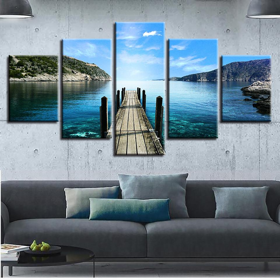 Wooden Bridge Lake Pictures - 5 Piece Canvas Wall Art