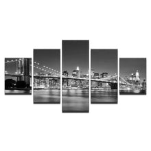 Load image into Gallery viewer, Black White Brooklyn Bridge City Night View - 5 Piece Canvas Wall Art