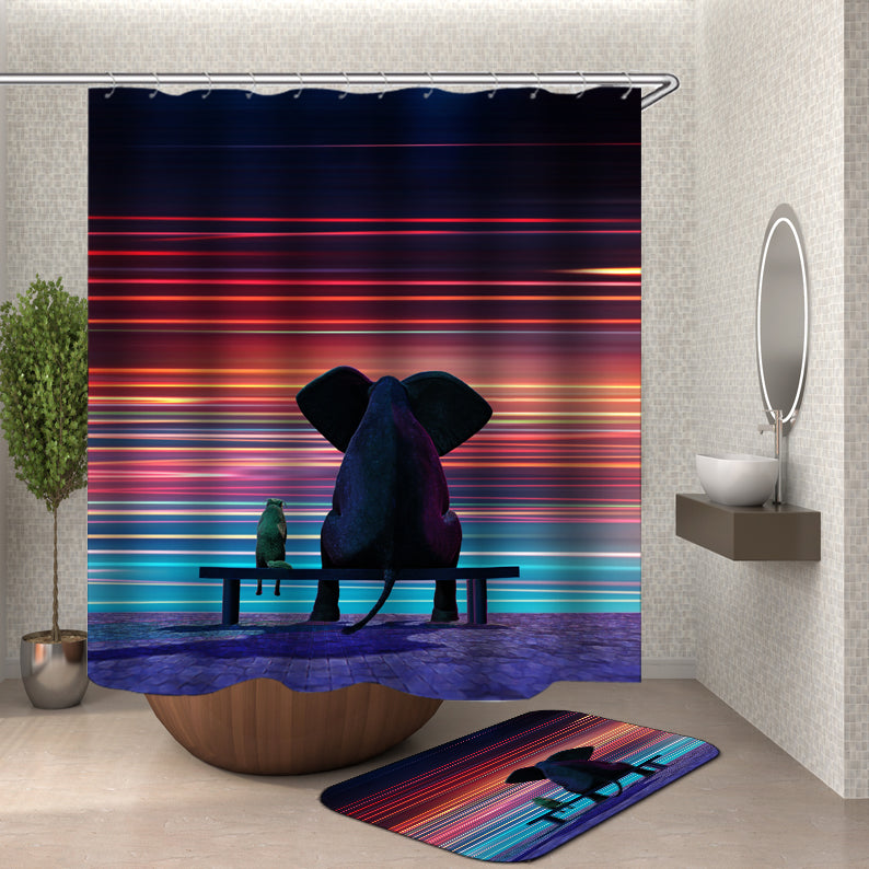 Elephant and Dog in the Rain Shower Curtain