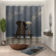 Load image into Gallery viewer, Elephant and Dog in the Rain Shower Curtain