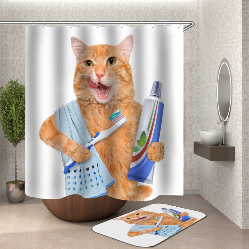 Cat in Bath and Cat Brushing Teeth Shower Curtain
