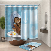 Load image into Gallery viewer, Cat in Bath and Cat Brushing Teeth Shower Curtain