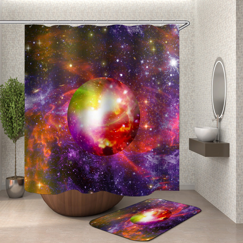 Colorful Galaxy Earth Shower Curtain