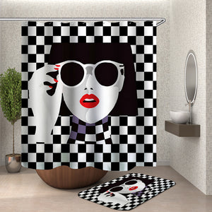 Girl Black and White Mosaic Shower Curtain