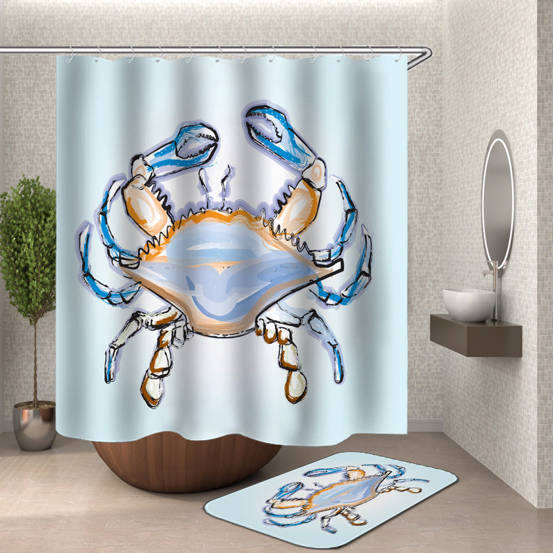 Drawing Crab Shower Curtain
