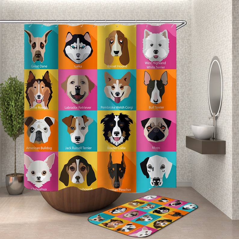 Dogs Heads Shower Curtain