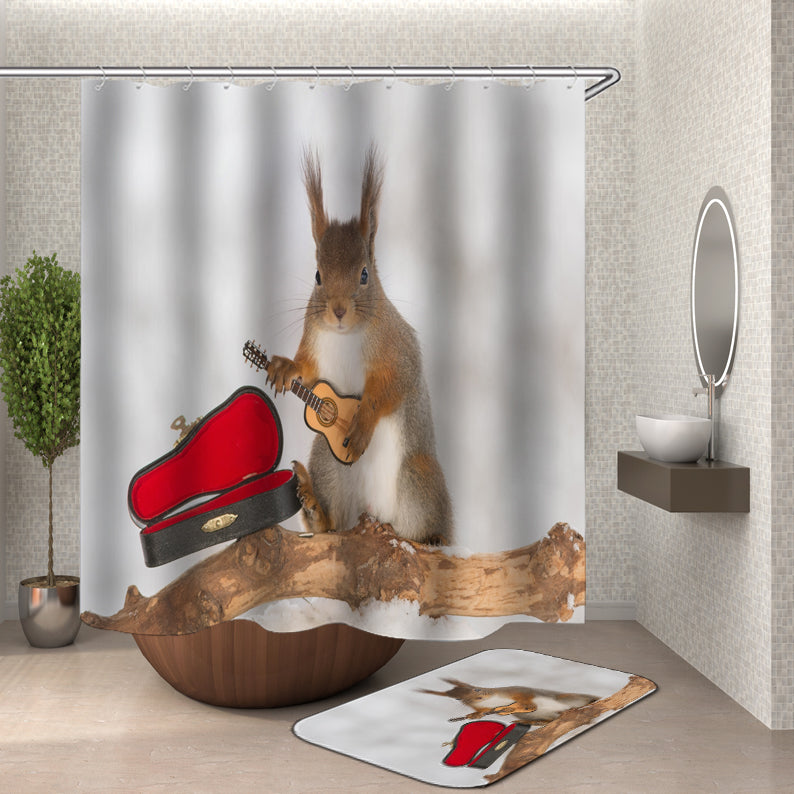 Rabbit Playing Guitar Shower Curtain