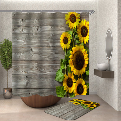 Old Barn Sunflowers Shower Curtain