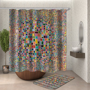 Colorful Mosaic Squares Shower Curtain