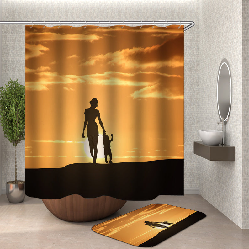 Woman and Child Sunset Shower Curtain