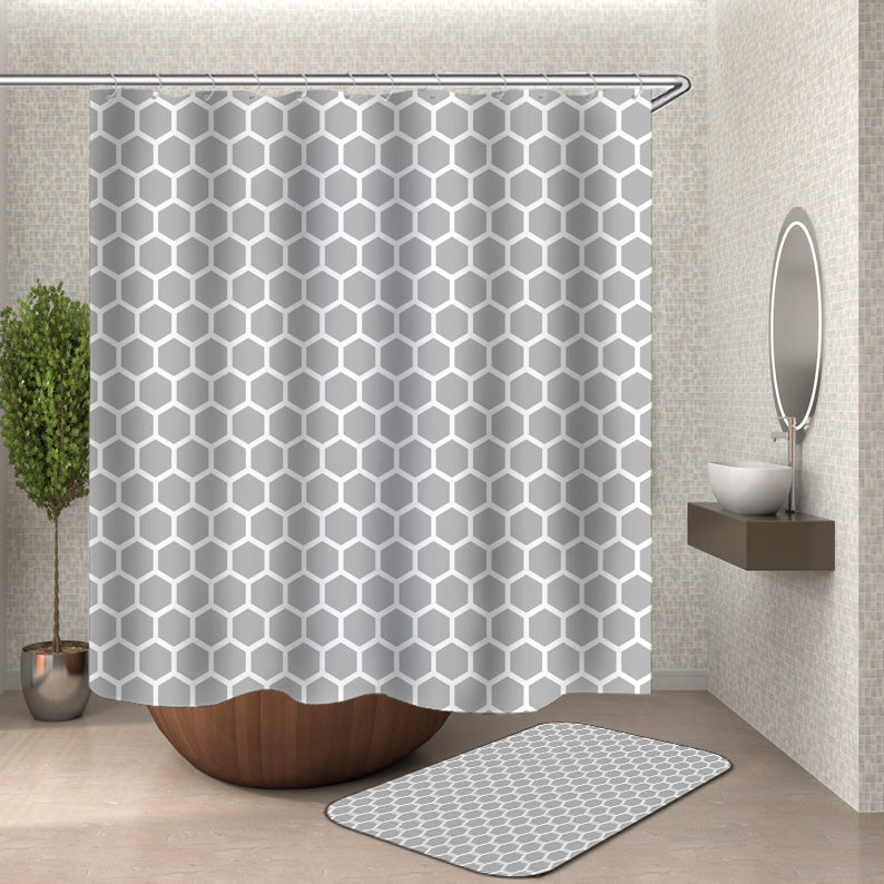 Grey White Geometric Design Pattern Shower Curtain