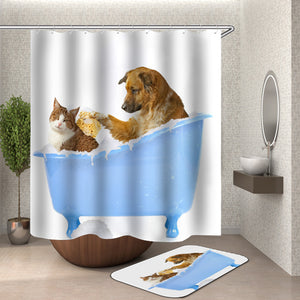 Dog and Cat Taking Shower Together Shower Curtain