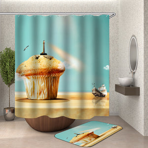 Nautical Cupcake Lighthouse Shower Curtain