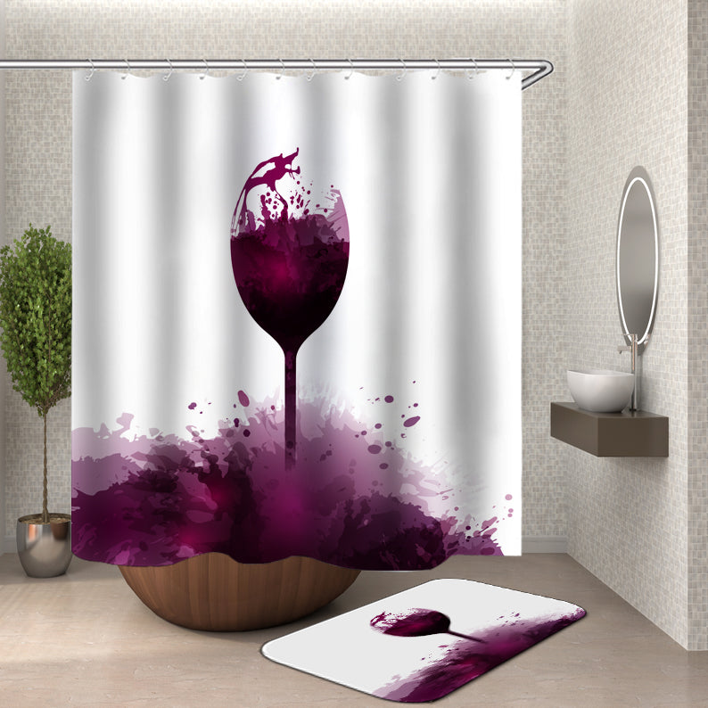 Purple Wine Glass Shower Curtain